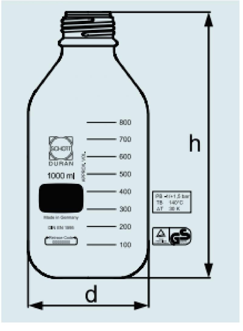 Frasco reagente Graduado para pressão com tampa azul disp. Antigota
