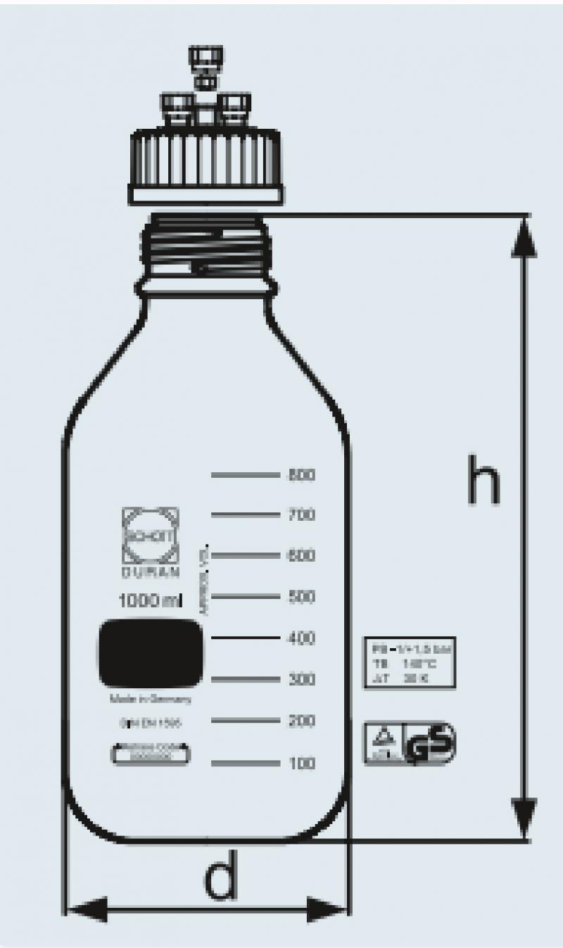 Frasco reagente Graduado para pressão com tampa de 4 saidas para hplc e disp. Antigota