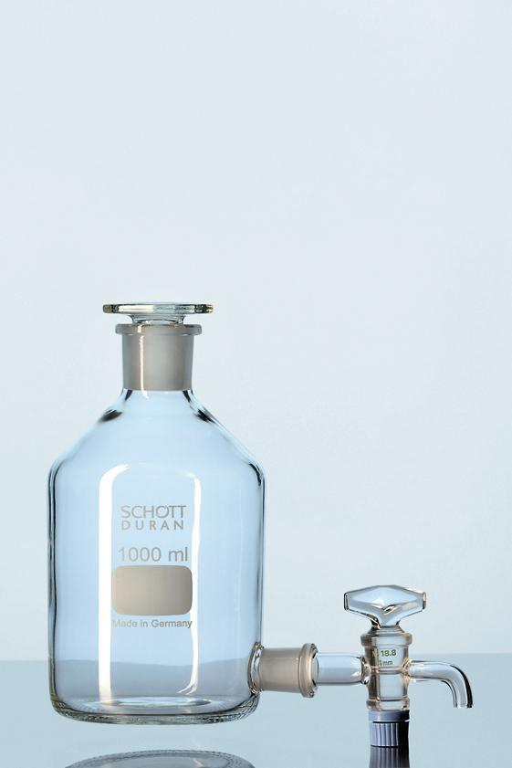 Frasco mariotte tampa de vidro e torneira de vidro