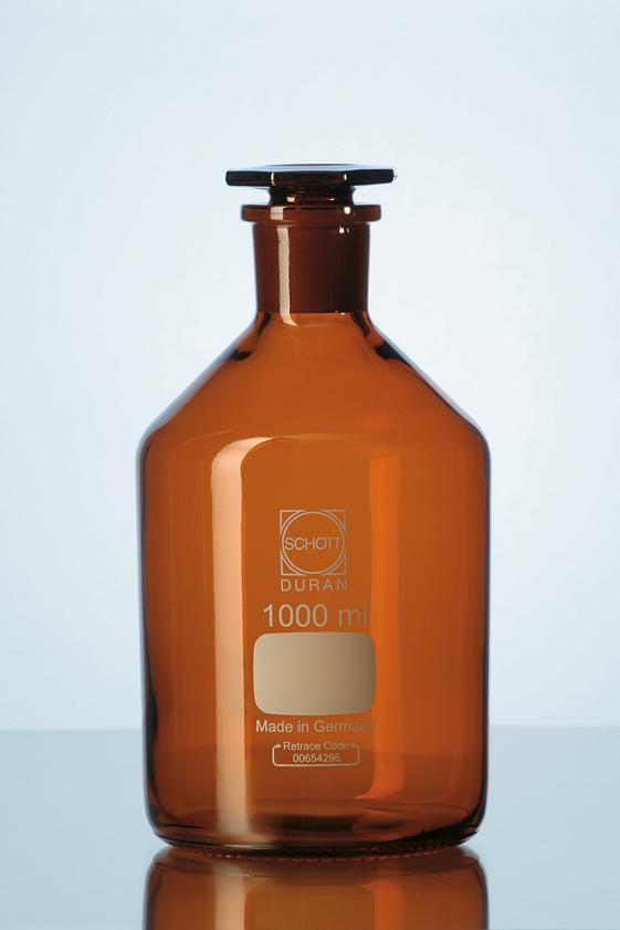 Frasco para reagente com rolha de vidro âmbar