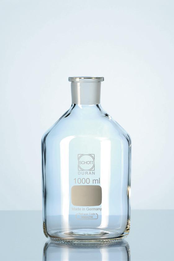 Garrafão de vidro boca estreita com junta esmerilhada
