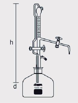 Bureta Automática com Faixa Azul Torneira de PTFE com Frasco 1000 ml ou 2000 ml sem Pera de Borracha