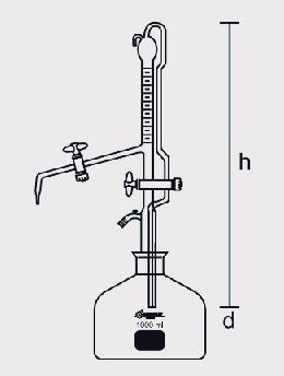 Bureta Automática com Faixa Azul Torneira de Vidro com Frasco 1000 ml ou 2000 ml sem Pera de Borracha