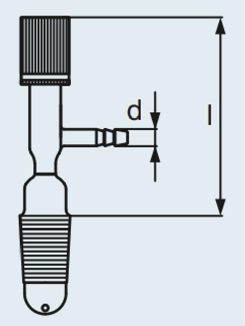 Torneira de fundo DURAN® com eixo de PTFE para tampa dessecador