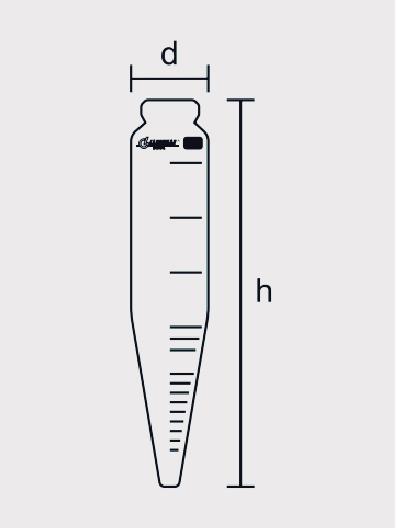 Tubo de Centrífuga Cônico Graduação de 100 ml, Calibrado a 20ºC, conforme ASTM D 91, D 96 ou D 128