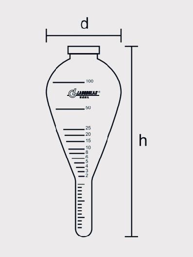 Tubo de Centrífuga Tipo Pera Graduação de 100 ml, Calibrado a 20ºC, conforme ASTM D 96