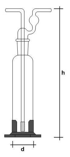 Frasco Lavador de gás tipo Dreschel com placa porosa