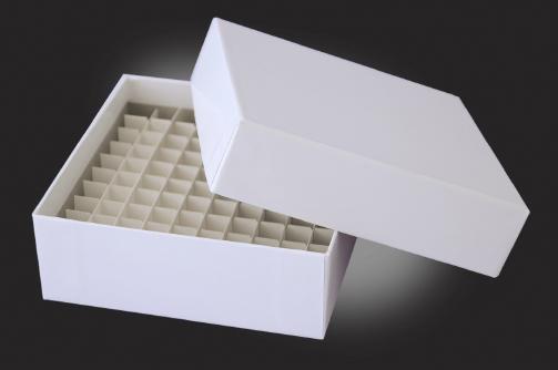 Caixa de Fibra de Papelão Revestido em Plástico para Microtubos Criogênicos