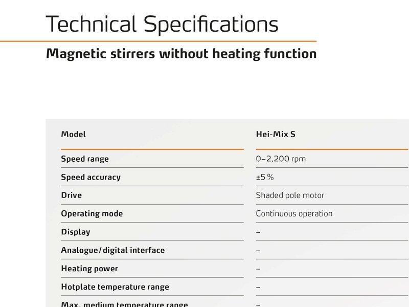 Especificações Agitadores Magnéticos HEI-TEC