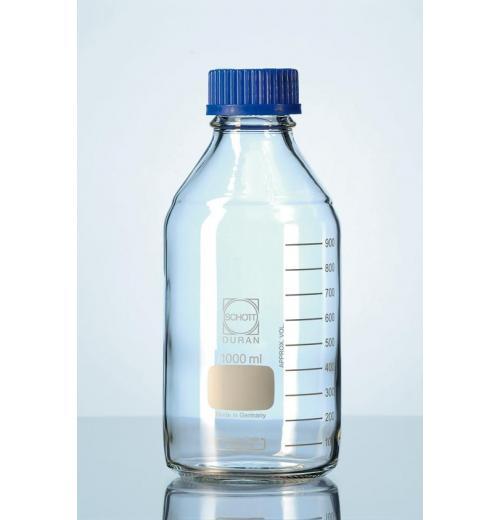 Frasco reagente graduado com tampa azul disp. Antigota
