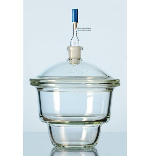 Dessecador a vácuo DURAN® com tubo de junção padrão terra NOVUS (NS 24/29) na tampa, torneira e flange plana