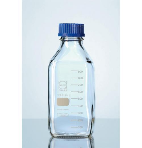 Frasco quadrado para reagente .Azul disp. Antigota