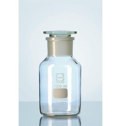 Frasco reagente DURAN®, gargalo largo com junta de ligação à terra standard, com rolha plana de vidro plano