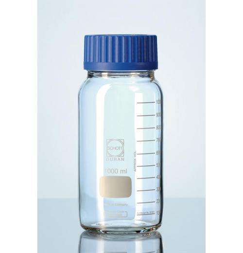 Frasco reagente Graduado com tampa azul GLS. 80mms
